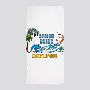 3D Palms Waves Sunset Spring Break COZ Beach Towel